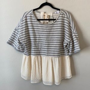 DR2 Gray Striped Ruffle Top Size Large